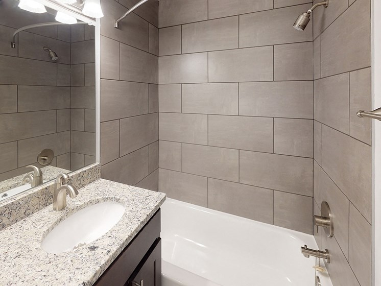 modern interior view of bathroom in apartment unit