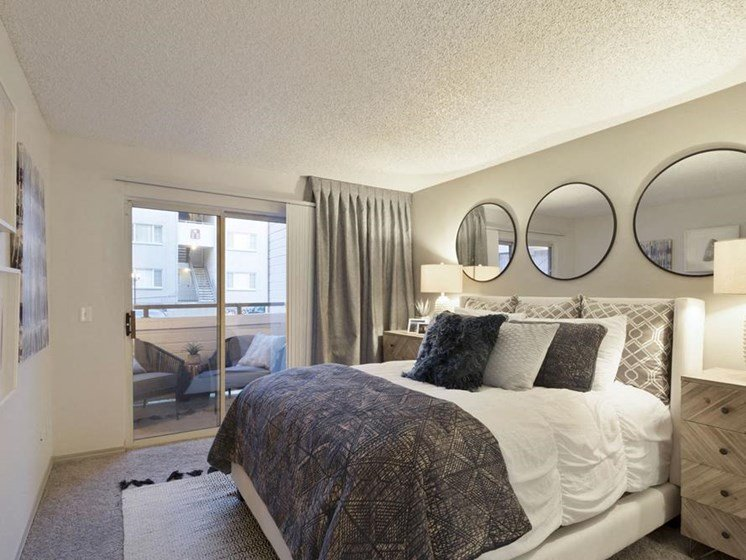 bedroom with modern interior decoration for apartment