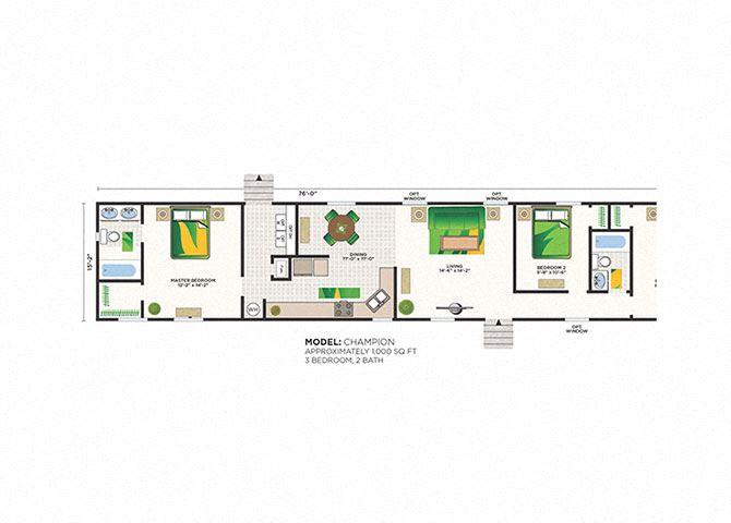 Champion 3 Bed 2 Bath Floor Plan at Heritage Oaks Rental Homes in Lincoln, NE