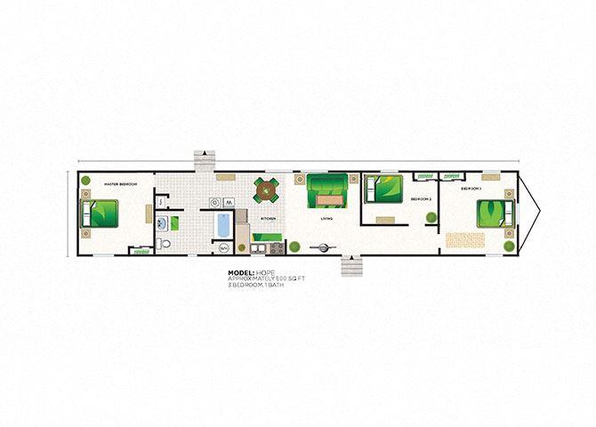 Hope 3 Bed 1 Bath Floor Plan at Heritage Oaks Rental Homes in Lincoln, NE