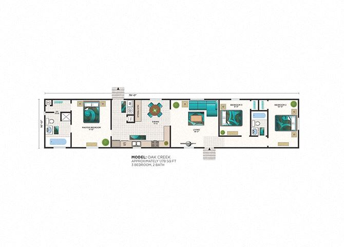 Oak Creek 3 Bed 2 Bath Floor Plan at Heritage Oaks Rental Homes in Lincoln, NE