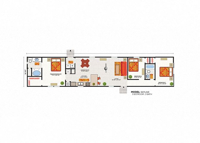Skyline 3 Bed 2 Bath Floor Plan at Heritage Oaks Rental Homes in Lincoln, NE