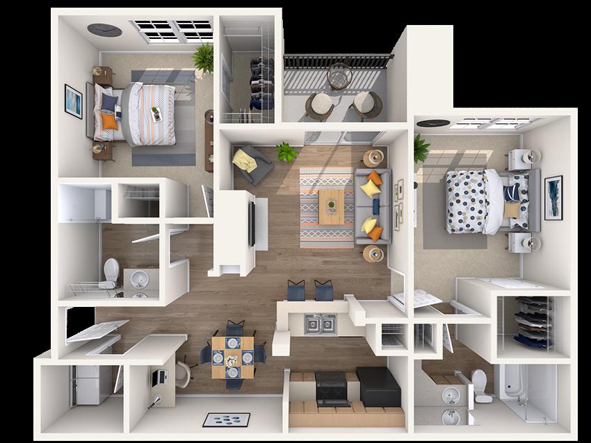 northa austin apartment 2 bedroom floor plan