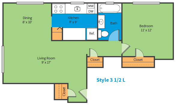 Oak Ridge Apartments Style 3 1/2 L Floor Plan