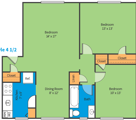 Oak Ridge Apartments Style 4 1/2 Floor Plan