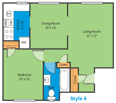 Oak Ridge Apartments Style 4 Floor Plan
