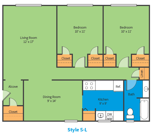 Oak Ridge Apartments Style 5 L Floor Plan