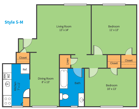 Oak Ridge Apartments Style 5 M Floor Plan
