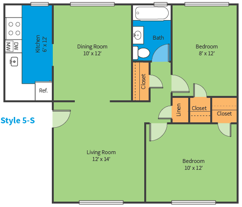 Oak Ridge Apartments Style 5 S Floor Plan