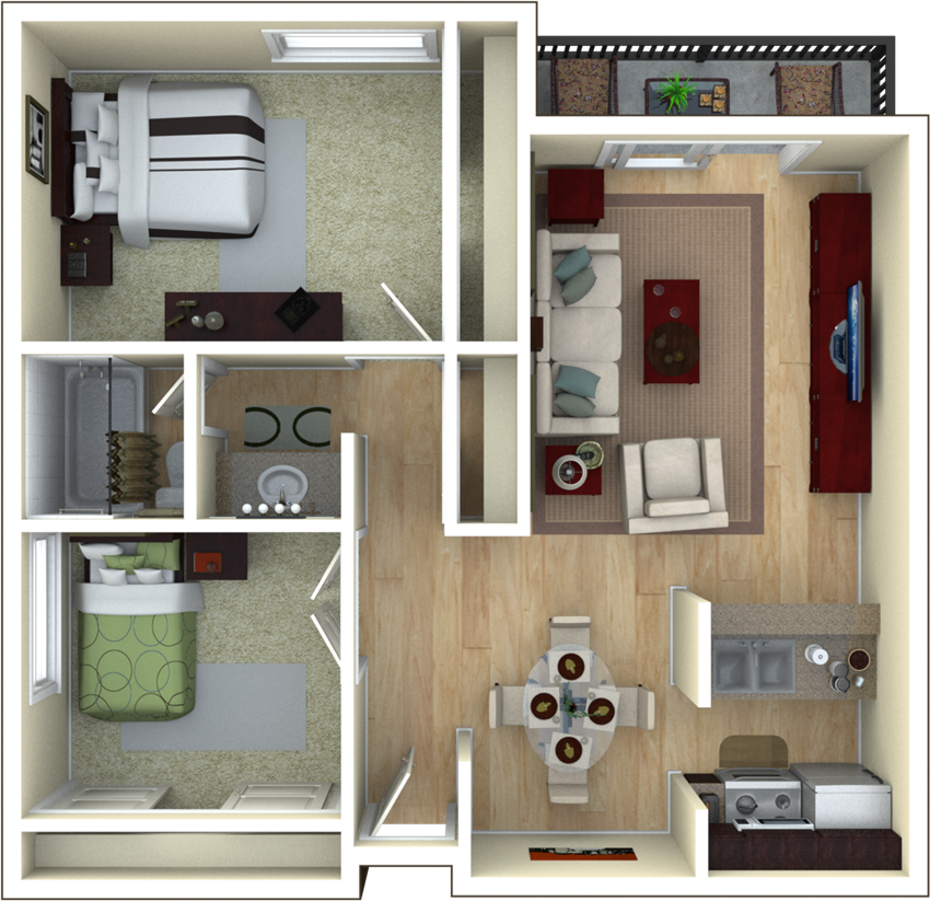 2 Bedroom, 1 Bathroom Floor Plan