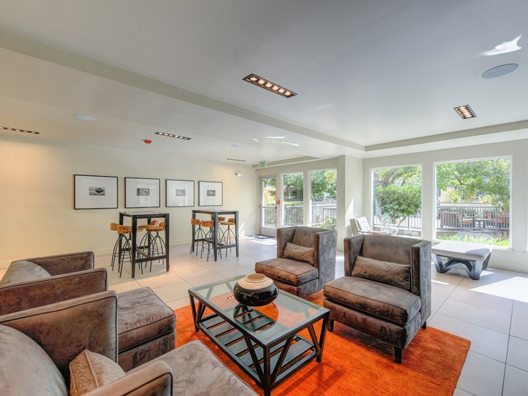 Community Clubhouse Seating Area,  Orage Rug, Gray Sofa and White Chairs