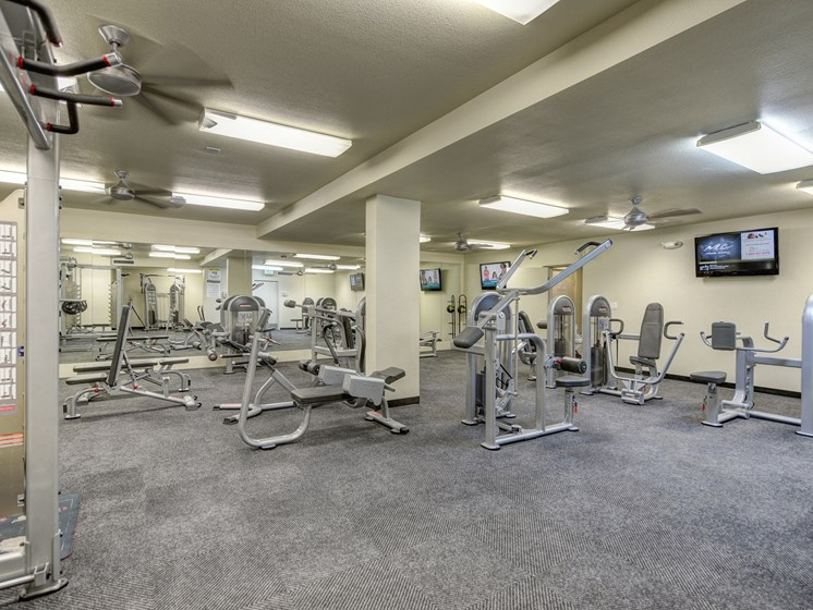 Fitness Center with Cardio, Weight Machines, Mounted Television and Ceiling Fan