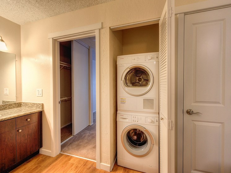 Luxury Apartment Community In Unit Washer Dryer and Bathroom Vanity