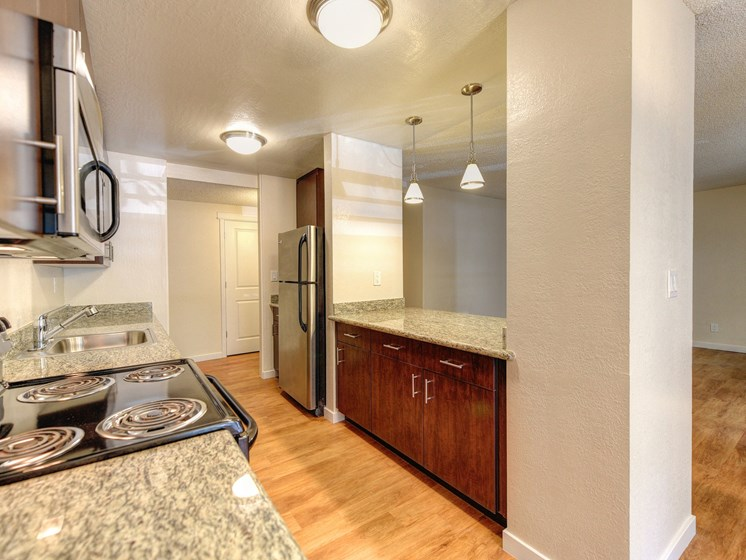 Luxury Apartment Community Kitchen with Microwave and Dishwasher