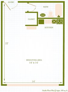 Lahaina Town Apartments studio floor plan