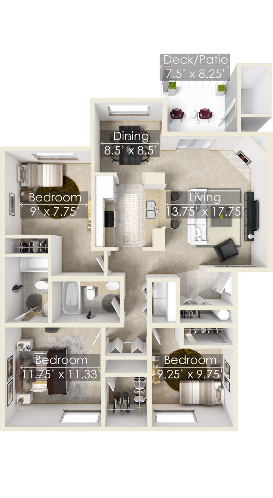 The Chinook Two Bedroom Floorplan