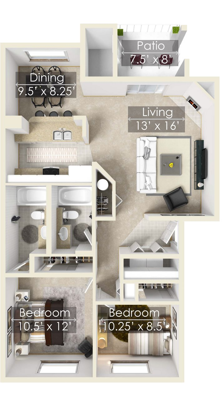 The Crystal Two Bedroom Apartment, Chinook Apartment Homes