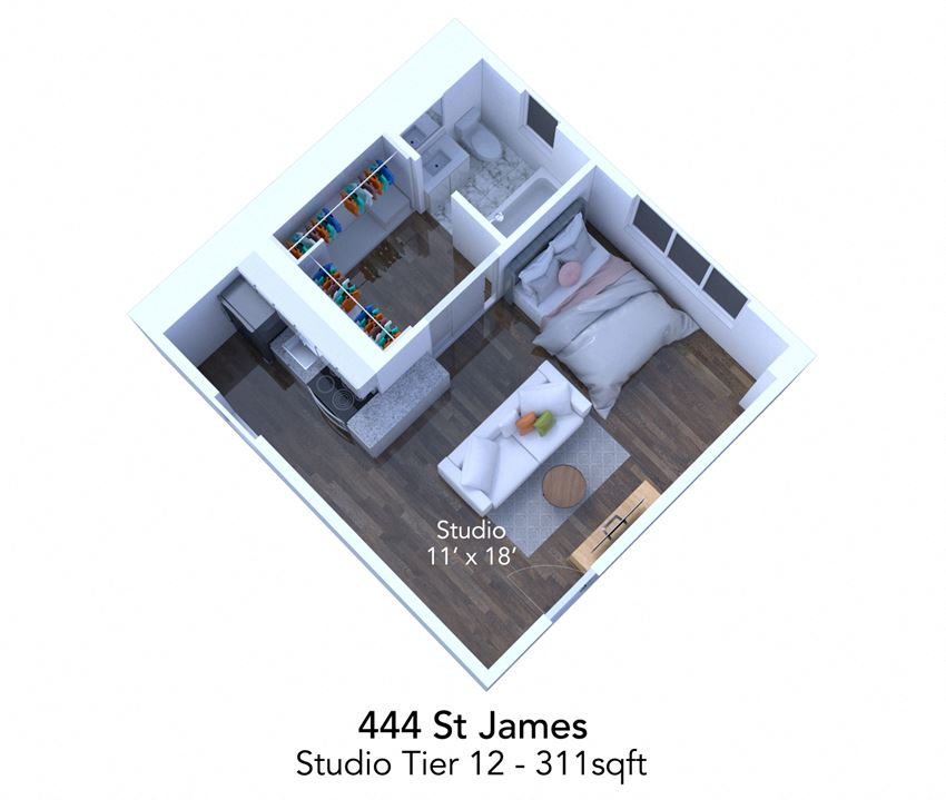 444 St James tier 12 floor plan