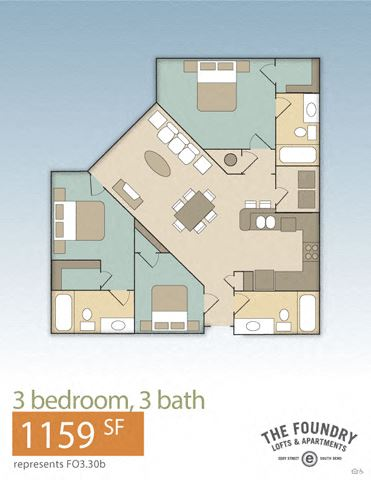 Foundry North - 3.30 B Floorplan at The Foundry, Indiana, 46617