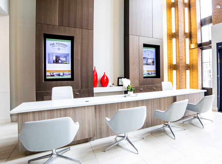 Inviting Reception Area at The Foundry, South Bend