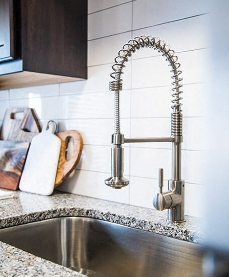 Double Sink with Integrated Sprayer, at The Foundry, South Bend, IN 46617