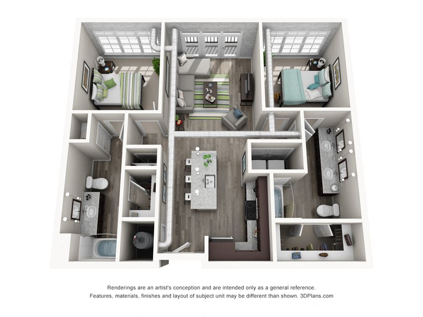 Two Bedroom and Two Bathroom Floor Plan
