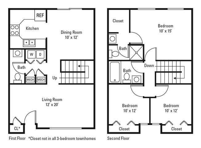 3 Bedroom 2.5 Bath Townhome, 1375 sq. ft.