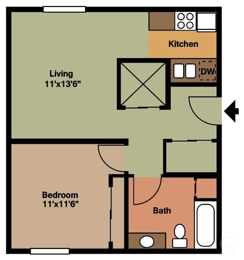 PSM 1 BDR Floorplan/650sqft at Parkside Manor, Coralville, 52241