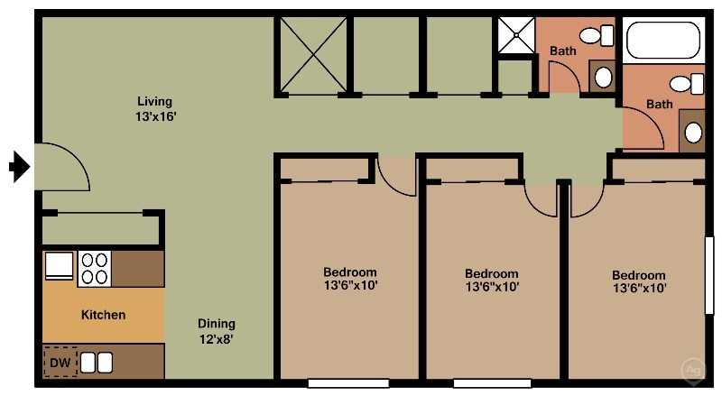 PSM 3 BDR Floorplan/1200sqft at Parkside Manor, Coralville, Iowa