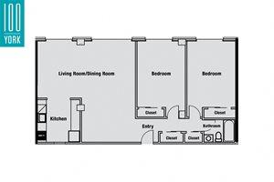 2 Bedroom + 1 Bath Floor Plan