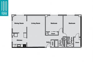 2 Bedroom + 2 Bath Floor Plan