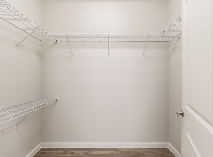 Huge oversized closets with built-in wire shelving
