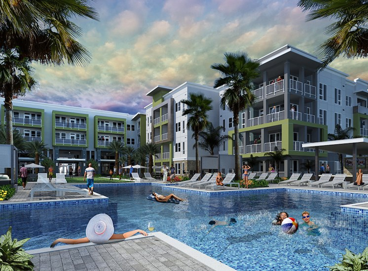 expansive resort-inspired pool with deluxe lounge at Residences at The Green Apartments in Lakewood Ranch, FL