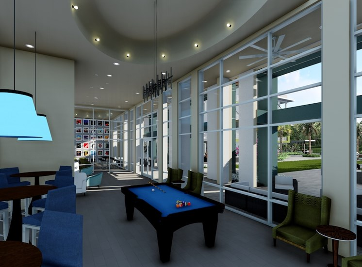 game room with billiards and tvs at Residences at The Green Apartments in Lakewood Ranch, FL