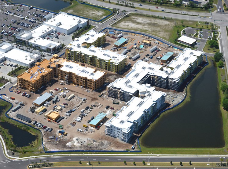 aerial photo of construction at Residences at The Green Apartments in Lakewood Ranch, FL
