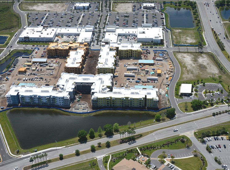 aerial photo of construction taking place at Residences at The Green Apartments in Lakewood Ranch, FL