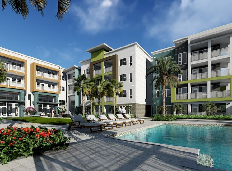 enjoy amazing pool views from some apartments at Residences at The Green Apartments in Lakewood Ranch, FL