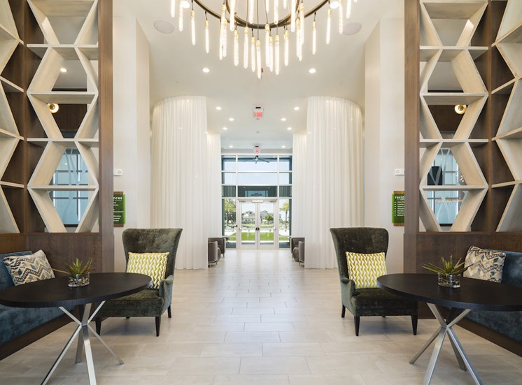 lobby with private conversation nooks and luxury furnishings