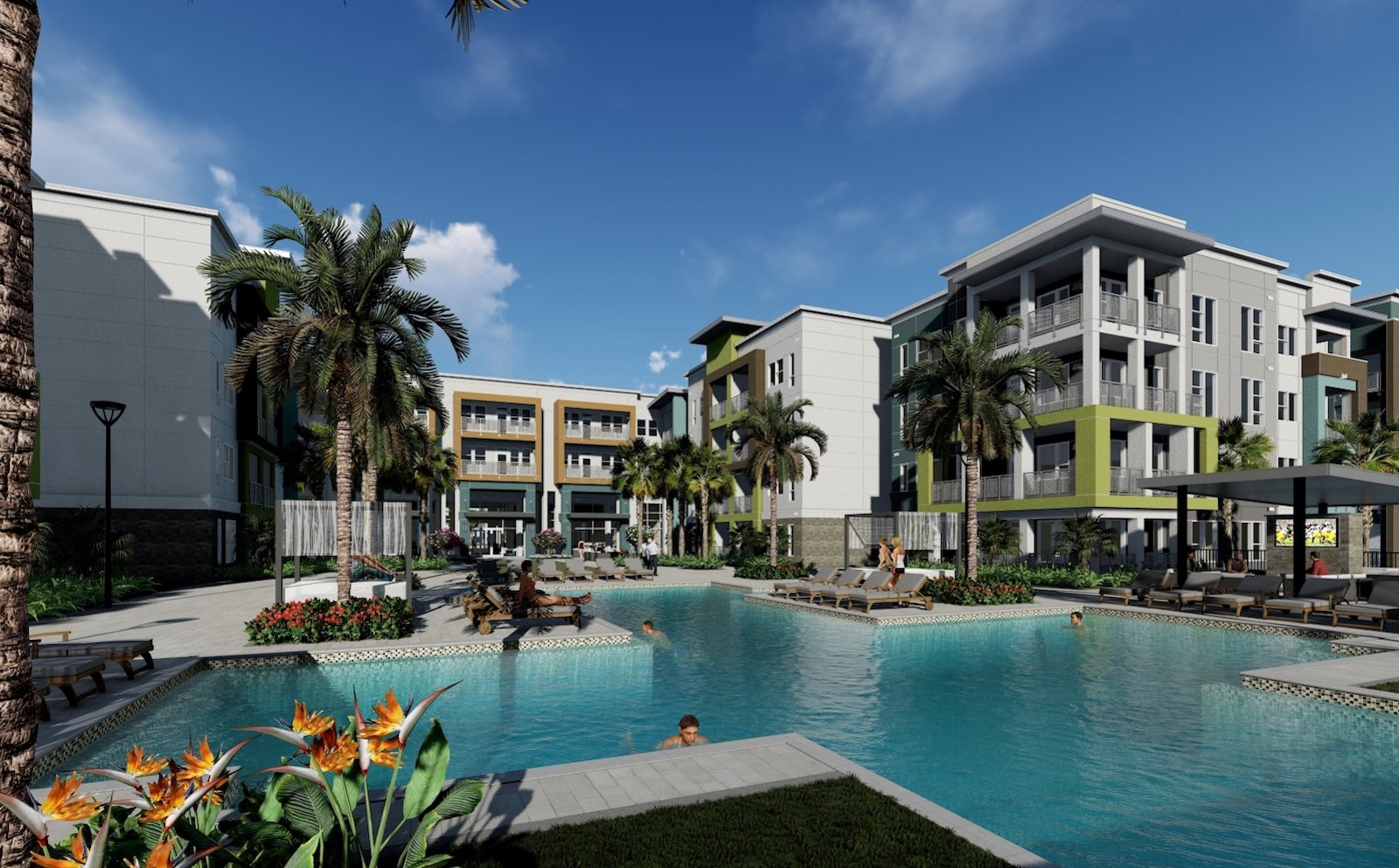 Residences at The Green Apartments in Lakewood Ranch, FL pool rendering