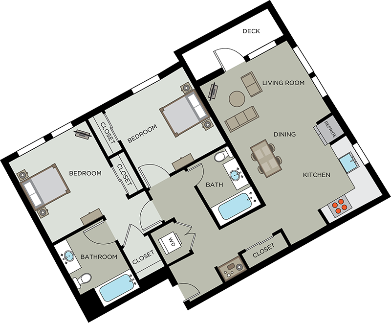 2 bedroom floor plan Santa Rosa CA | Annadel Apartments