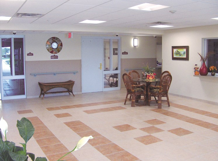Holy Cross Manor I and II senior apartments in Palmetto, FL well-kept lobby