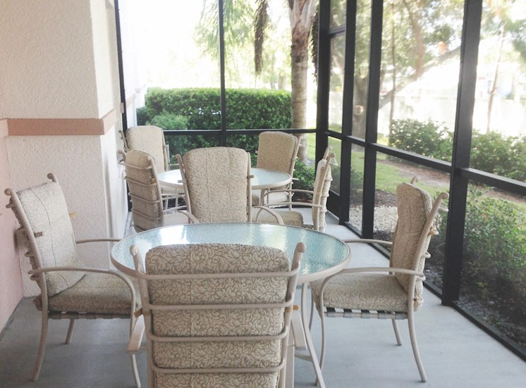 Holy Cross Manor I and II senior apartments in Palmetto, FL screened patio