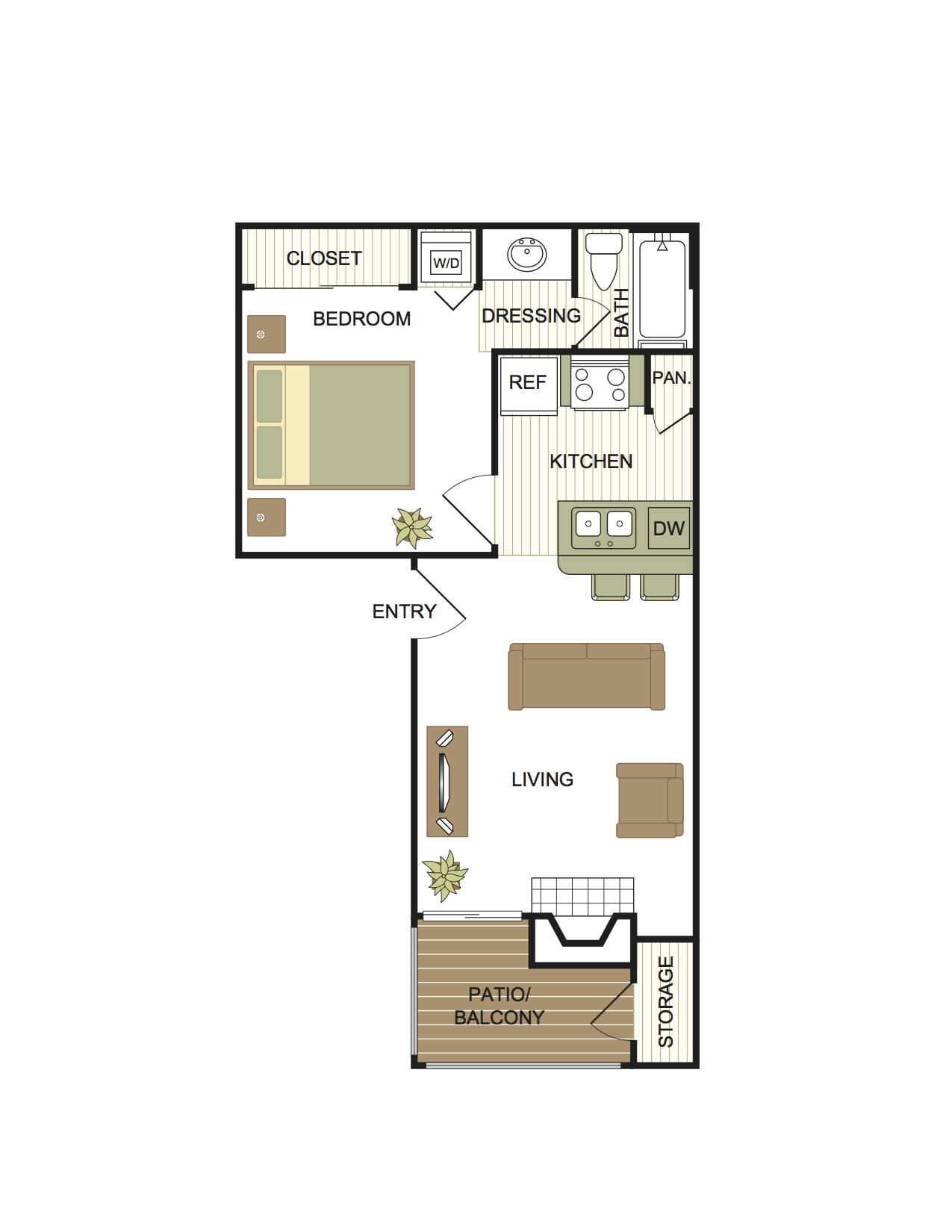 1 Bedroom | 1 Bath Floor Plan 1
