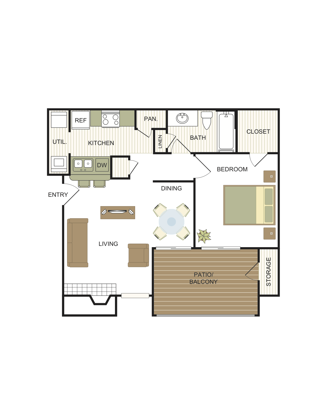 1 Bedroom | 1 Bath Floor Plan 2