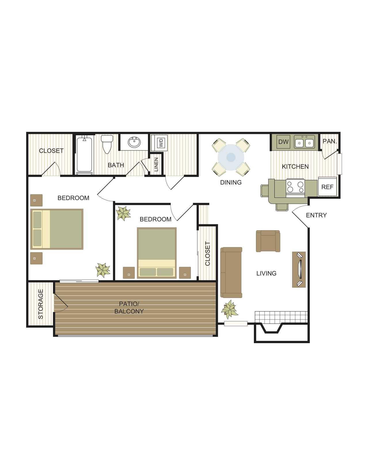 2 Bedrooms | 1 Bath Floor Plan 3