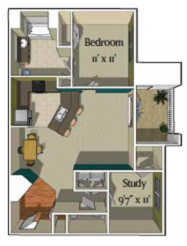 1 Bedroom/1.5 bath w/ Study [Alta] Floor Plan 2