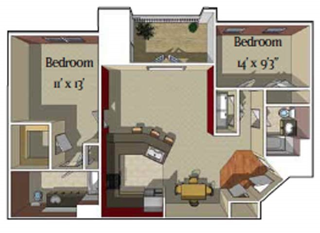 2 Bedroom/2 bath [Aspen] Floor Plan 3