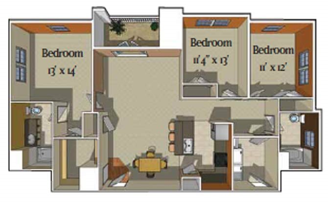 3 Bedroom/2 bath [Davos] Floor Plan 4