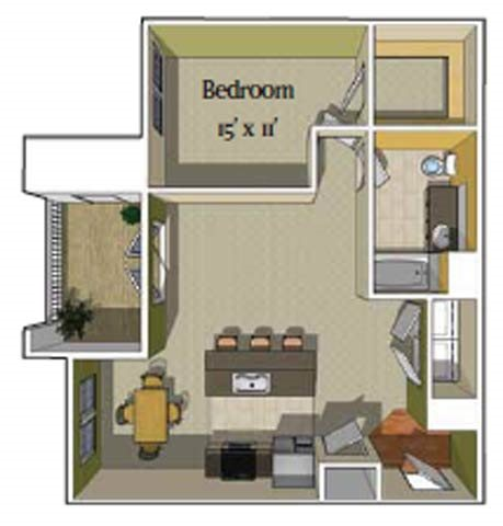 1 Bedroom/1 bath [Tahoe] Floor Plan 1