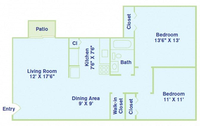 2 Bedroom - Balcony Floor Plan 6